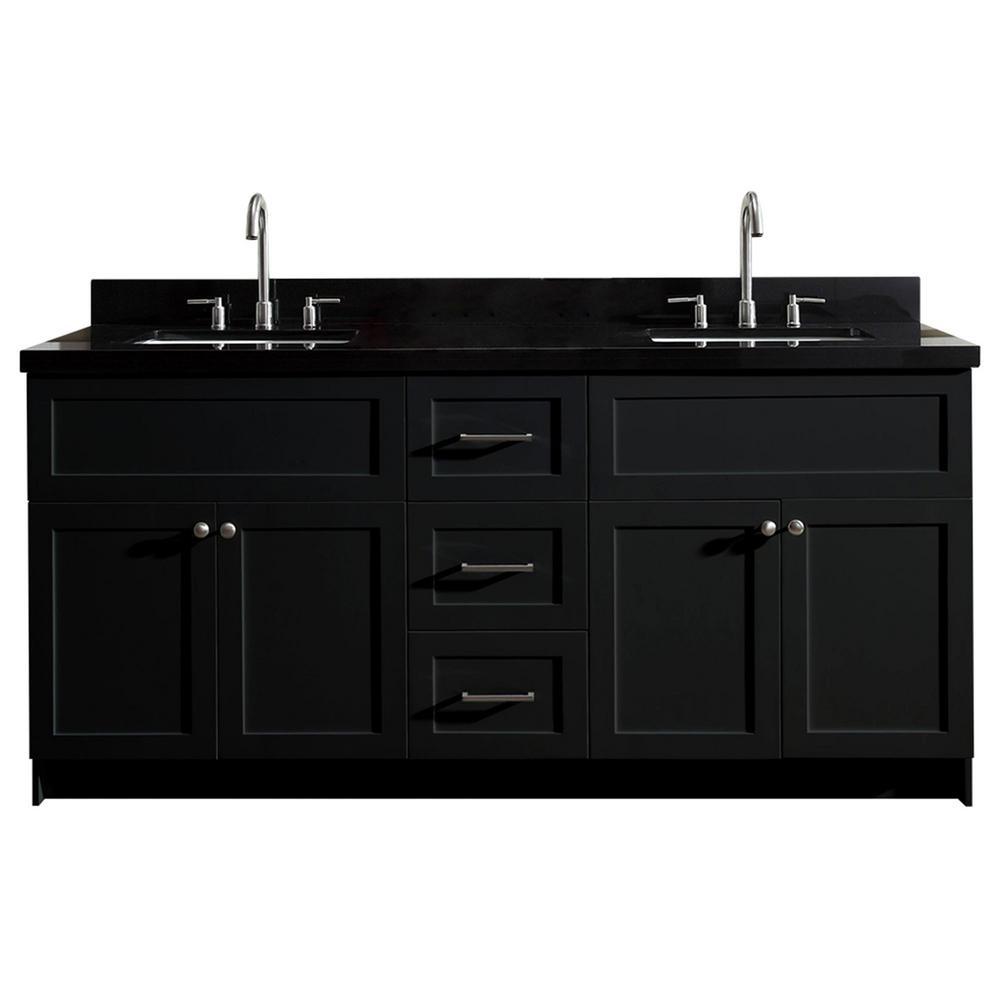 Ariel Hamlet 73 In Bath Vanity In Black With Granite Vanity Top