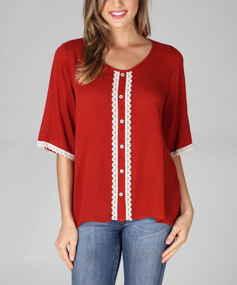 Look at this #zulilyfind! Pinkblush Red Lace Crochet Top by Pinkblush #zulilyfinds