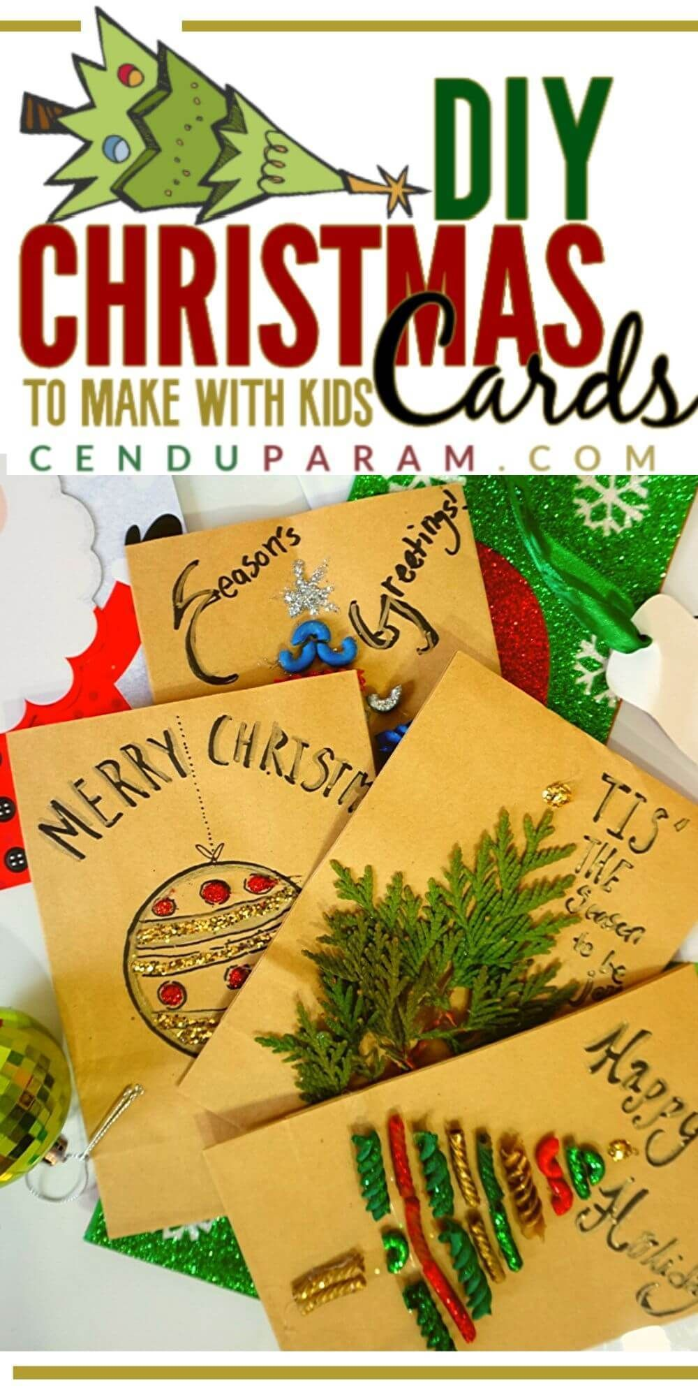 Try this super easy craft for kids this Christmas. These Christmas cards are so
