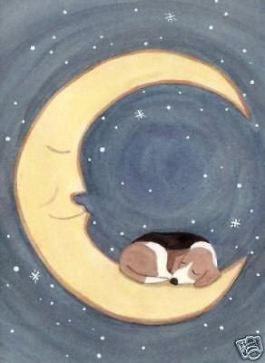Beagle sleeping on the moon / Lynch signed folk art print #folkart