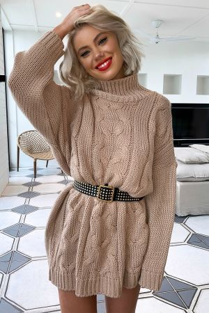 LAURA JADE CREAM OVERSIZED CHUNKY KNITTED JUMPER DRESS WITH SIDE SPLITS #chunkyknitjumper