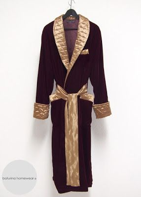 edfcf550af Men s luxury burgundy and gold quilted silk  velvet  dressing  gown ...