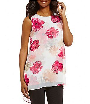 Calvin Klein Floral Printed Chiffon Overlay Hi-Low Top