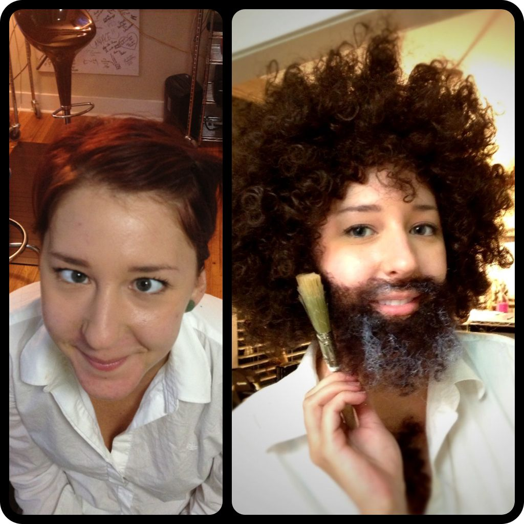 bob ross halloween costume hilarious my friend before crossing her eyes she is crazy and after latex spirit gum crepe hair for the beard - Halloween Costumes With Facial Hair
