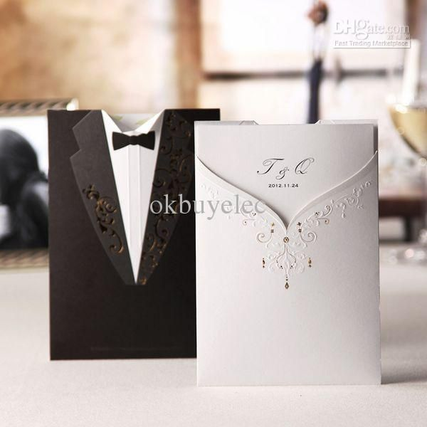 cheap bride groom tuxedo gown design wedding invitation cards party favors invites as low as 106 also buy bachelorette party invitations beach wedding