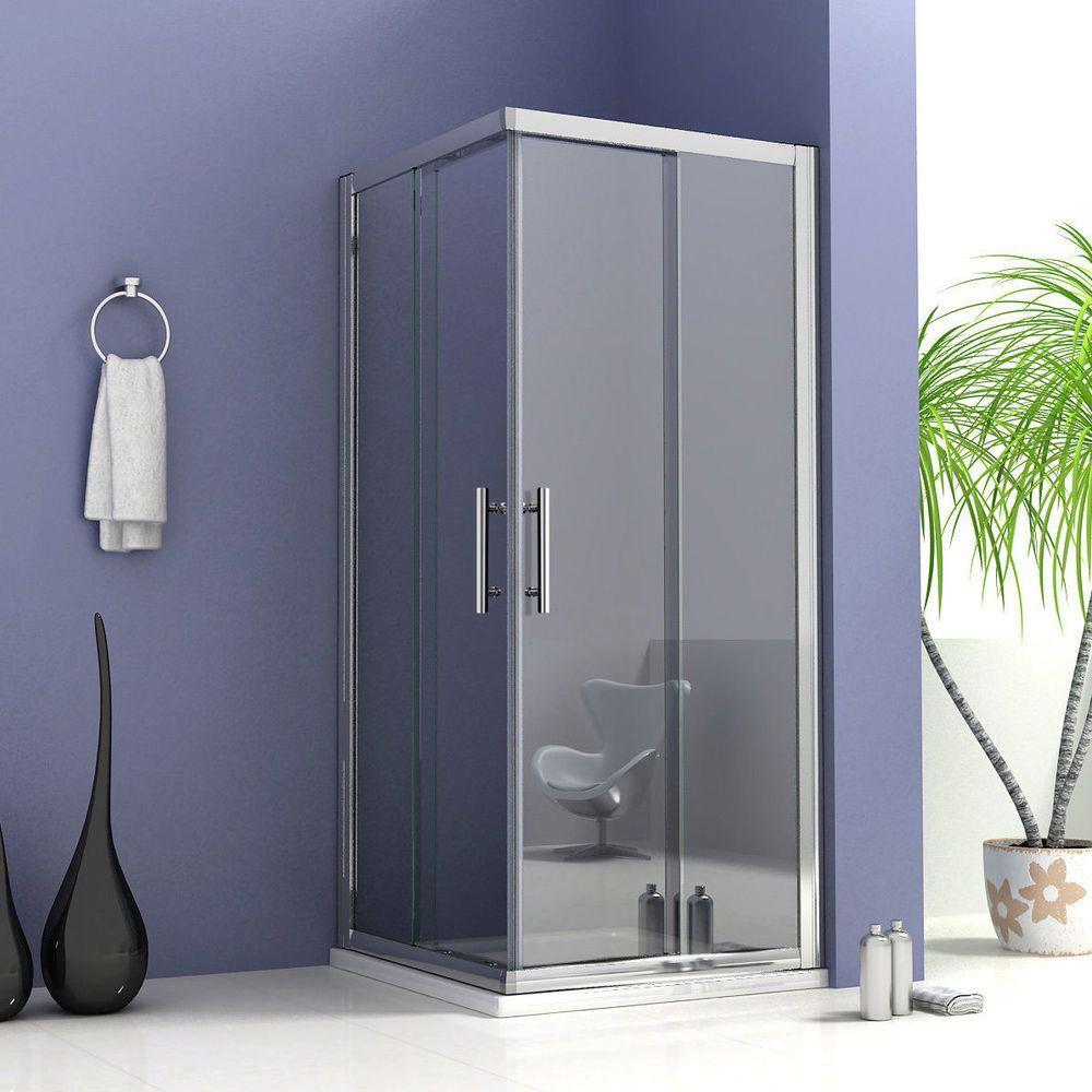 800x800mm Double Sliding Door Shower Enclosure Corner Entry Toughen Glass S1