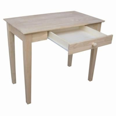 International Concepts 36 In Rectangular Unfinished 1 Drawer Writing Desk With Solid Wood Material Of 695249 The Home Depot Writing Desk Writing Table Desk