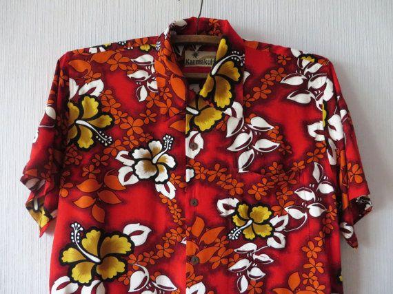 3770e425f6ec Hot Red Floral Mens Shirt Summer Bright Colorful Hawaiian Flowers Print  Button up Short Sleeve Beach