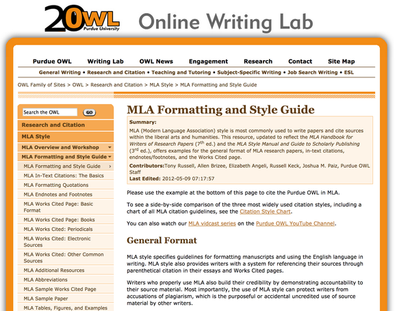 purdue owl citation mla format