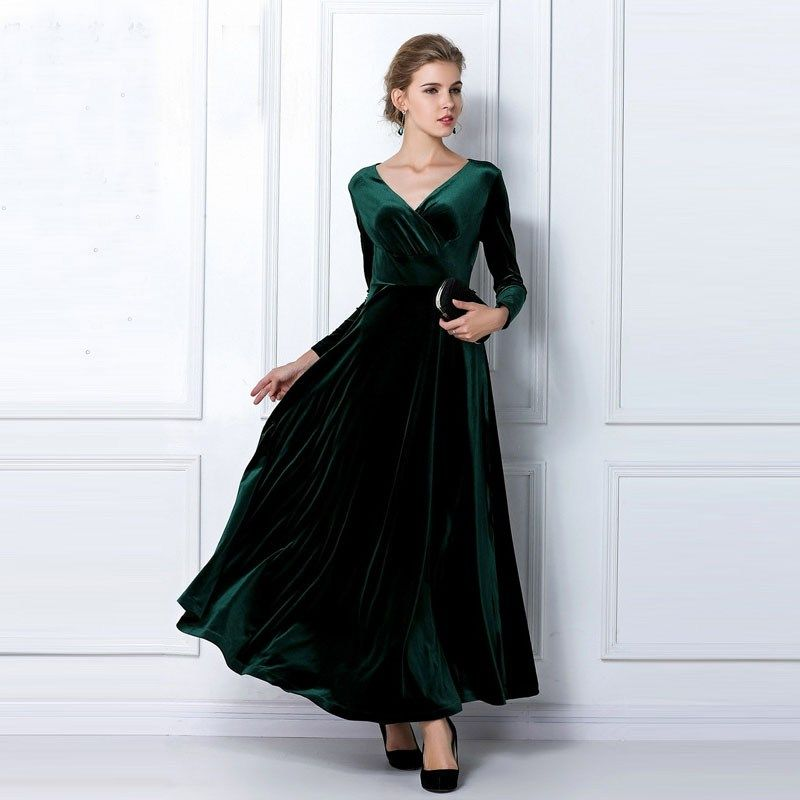 f2e8b5ca616 Velvet Vestidos Plus Size 2018 Autumn Winter Women Elegant Vintage Party  Dresses Casual Long Sleeve Ball Gown Dress free shipping worldwide