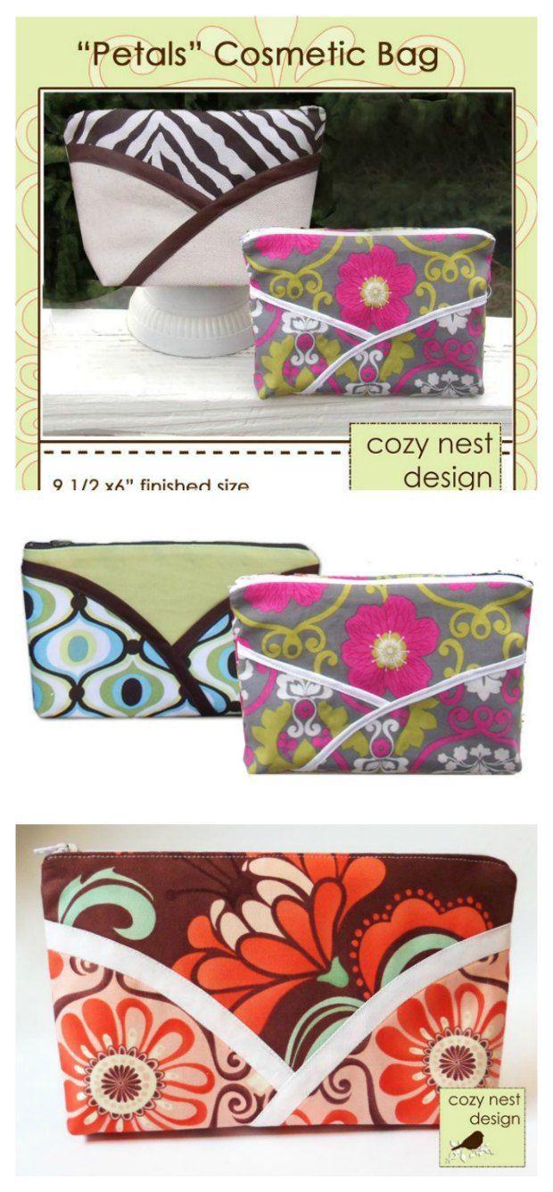 Petal cosmetics bag free Sewing leather, Zipper bags