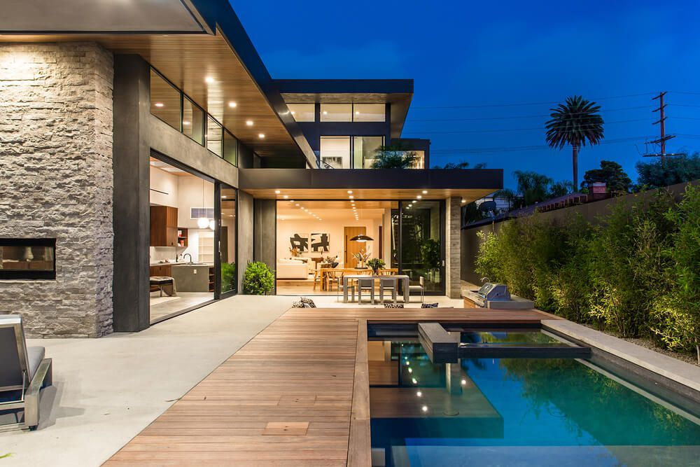 Palms residence casa moderna con fachada de madera y for Casa moderna venezia