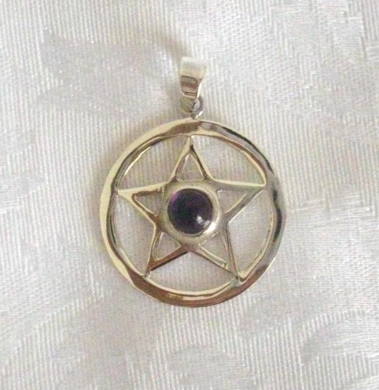 Ciondolo in Argento con Pentagramma e Ametista