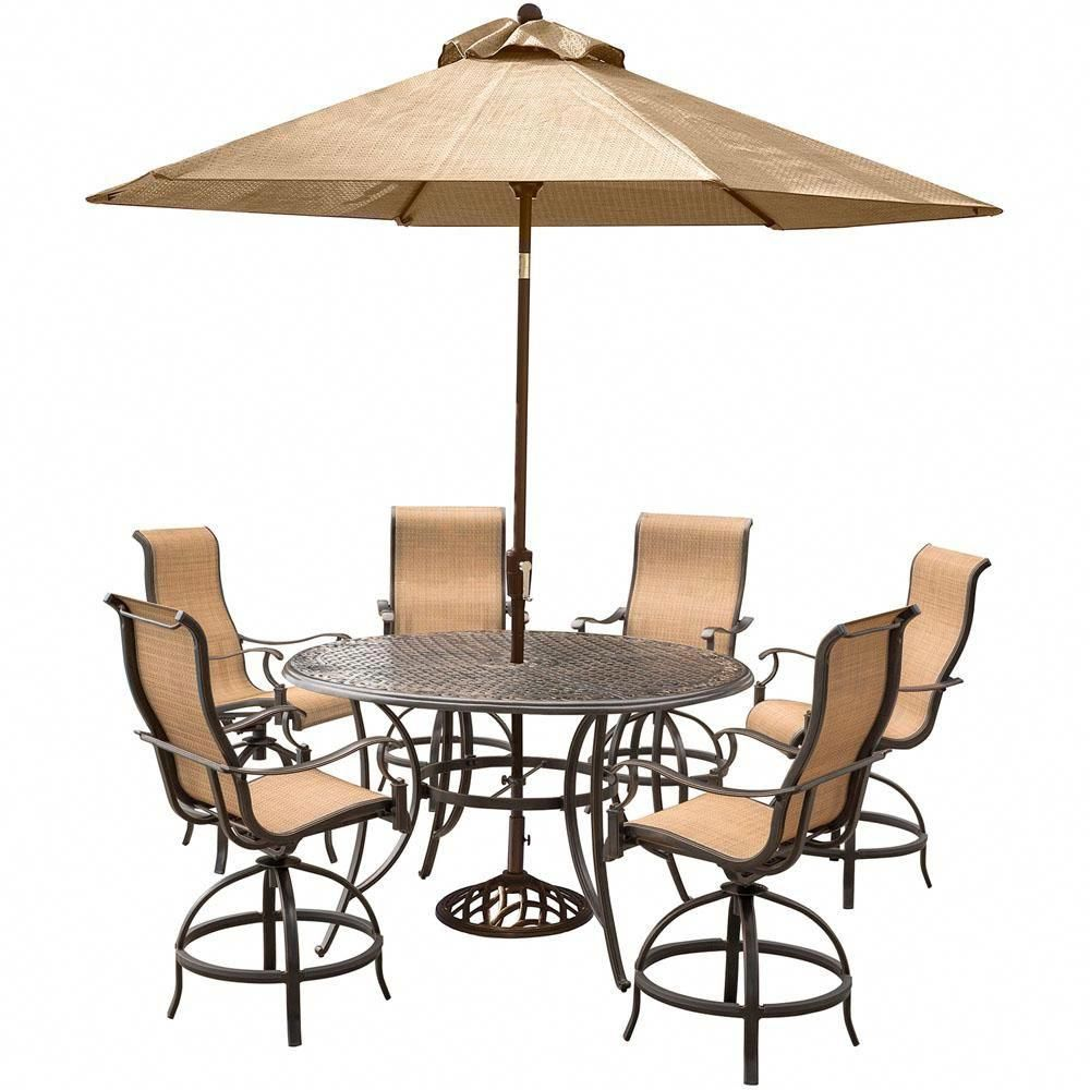 Hanover Manor 7 Piece Aluminum Round Outdoor Bar Height Dining Set