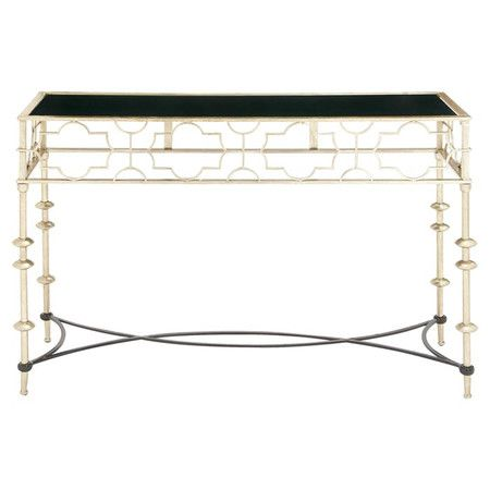 Perfect for displaying an eye-catching vignette or cherished family photos, this lovely console table showcases a metal frame and geometric accents....