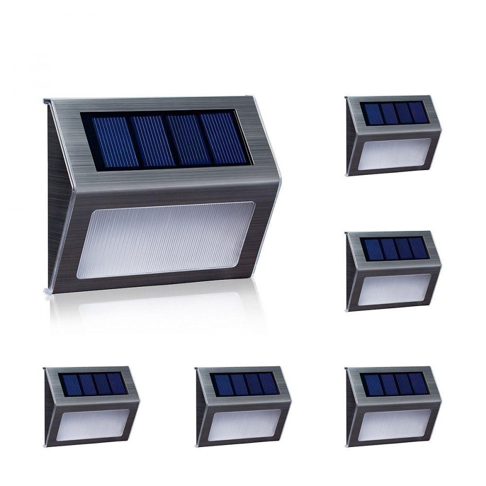 6 x Solar Led Light Garden Security Step Stair Deck