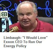"Rush Limbaugh: ""I would love Rex Tillerson of Exxon being in charge of our energy program"""