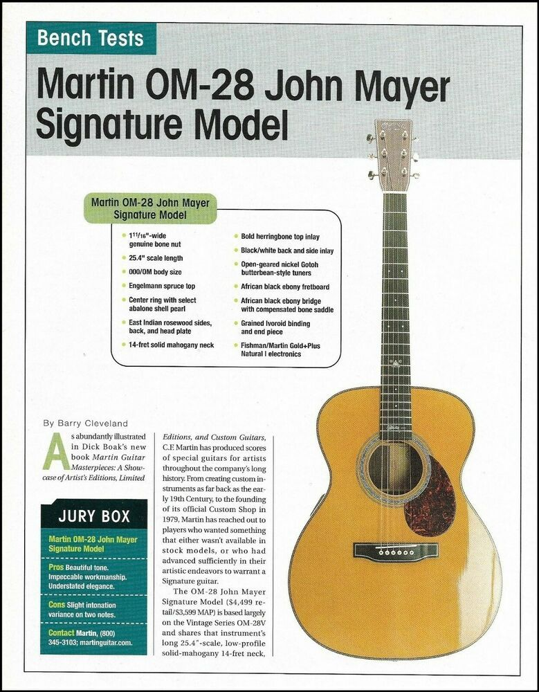 John Mayer Signature Martin Om 28 Acoustic Guitar 2 Page Review Article W Specs Martin John Mayer Guitar Reviews Acoustic Guitar