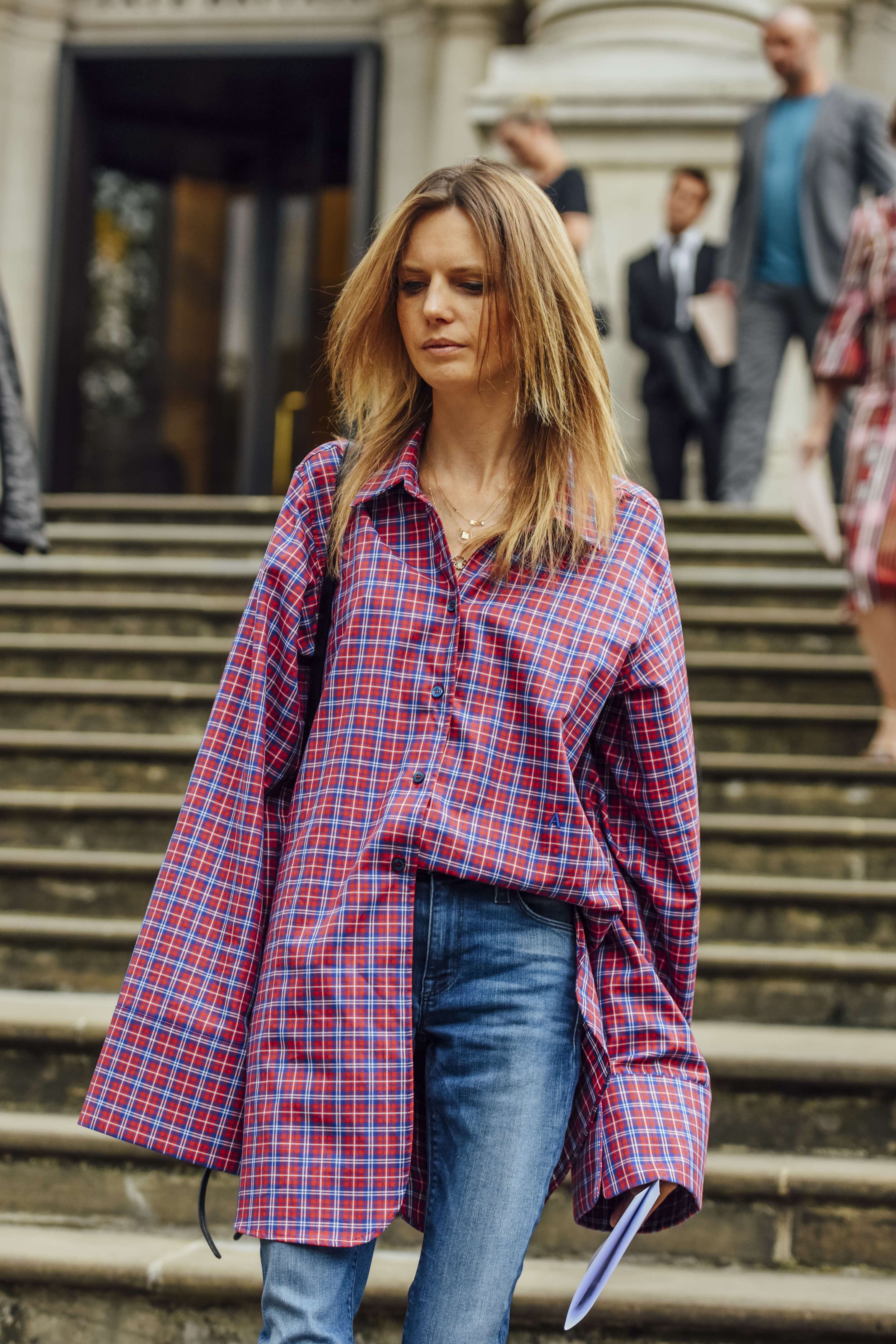 Red, Blue, Jeans, Plaid, London, Women, Oversized, Necklaces, Shirts, 1 Person, Button-downs, fashion week street style 2017 springnot obsessed with the color bu