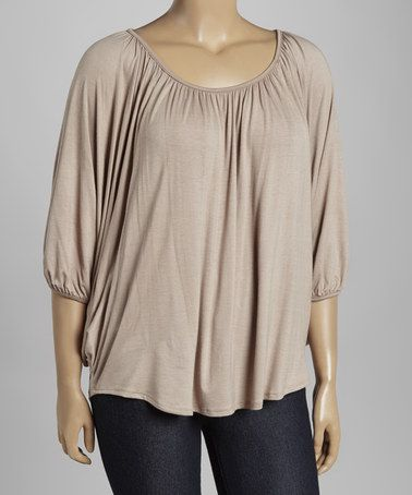 Another great find on #zulily! Taupe Ruched Scoop Neck Tee - Plus #zulilyfinds
