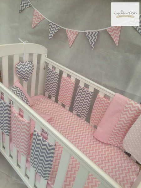 Amazing Pink And Grey Chevron Bar Bumper Cot Bedding Set India