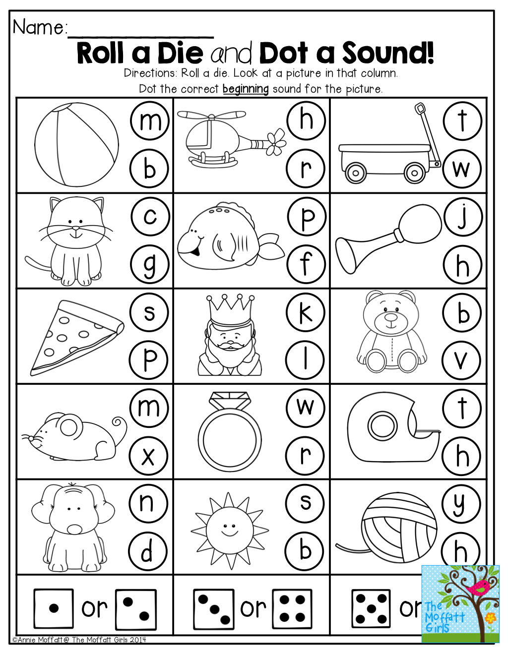 Roll A Die And Dot Or Color A Sound Fun And Interactive Activities For Back To School Phonics Kindergarten Kindergarten Learning Preschool Learning [ 1325 x 1024 Pixel ]