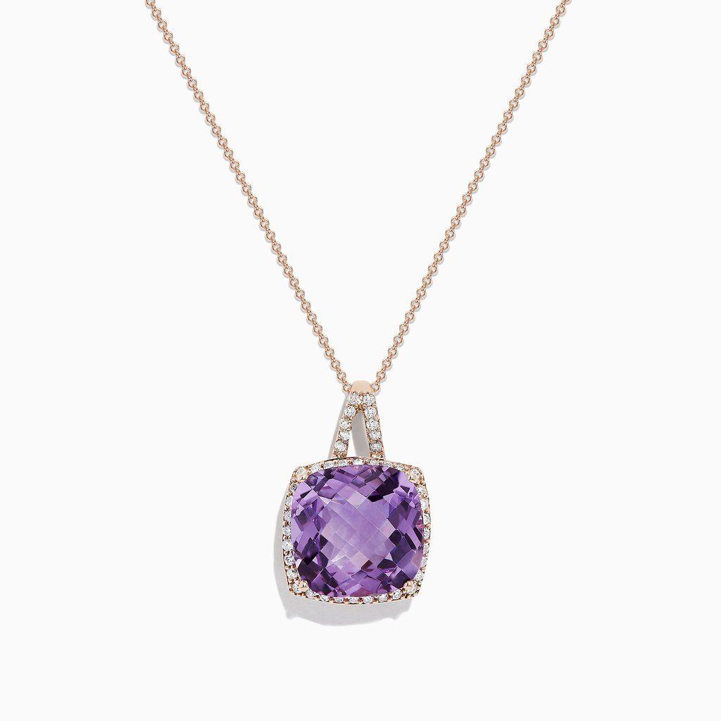 Effy 14k Rose Gold Amethyst And Diamond Pendant 9 84 Tcw Diamond Pendant Amethyst 14k Rose Gold