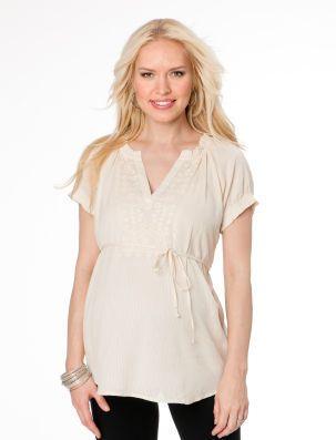 76ba1e4815ae2 Motherhood Short Sleeve Ruffled Maternity Shirt on shopstyle.com ...