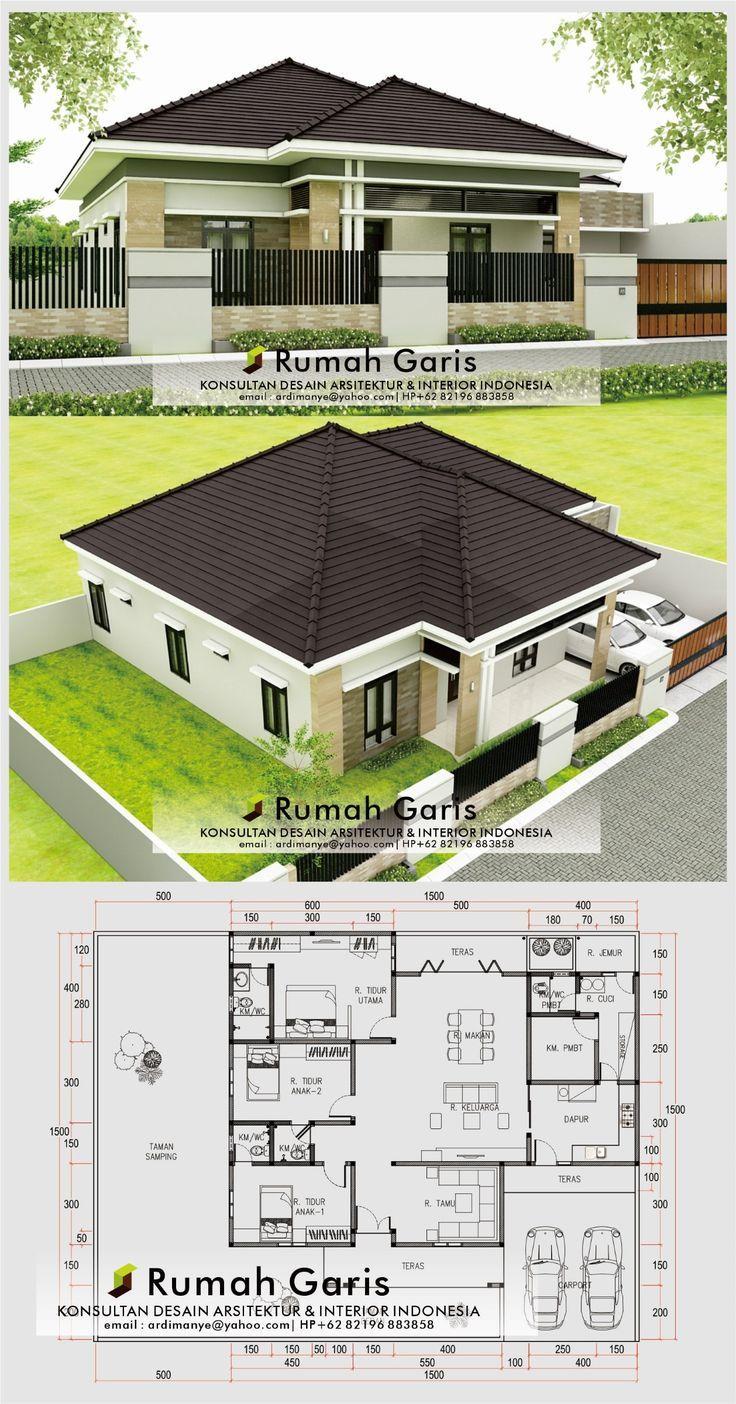 Desain Denah Tampak Depan Rumah 1 Lantai Modern Minimalis 20x15 M 4 Kamar Tidur Lahan Melebar Di 2021 Arsitektur Rumah Indah Membangun Rumah