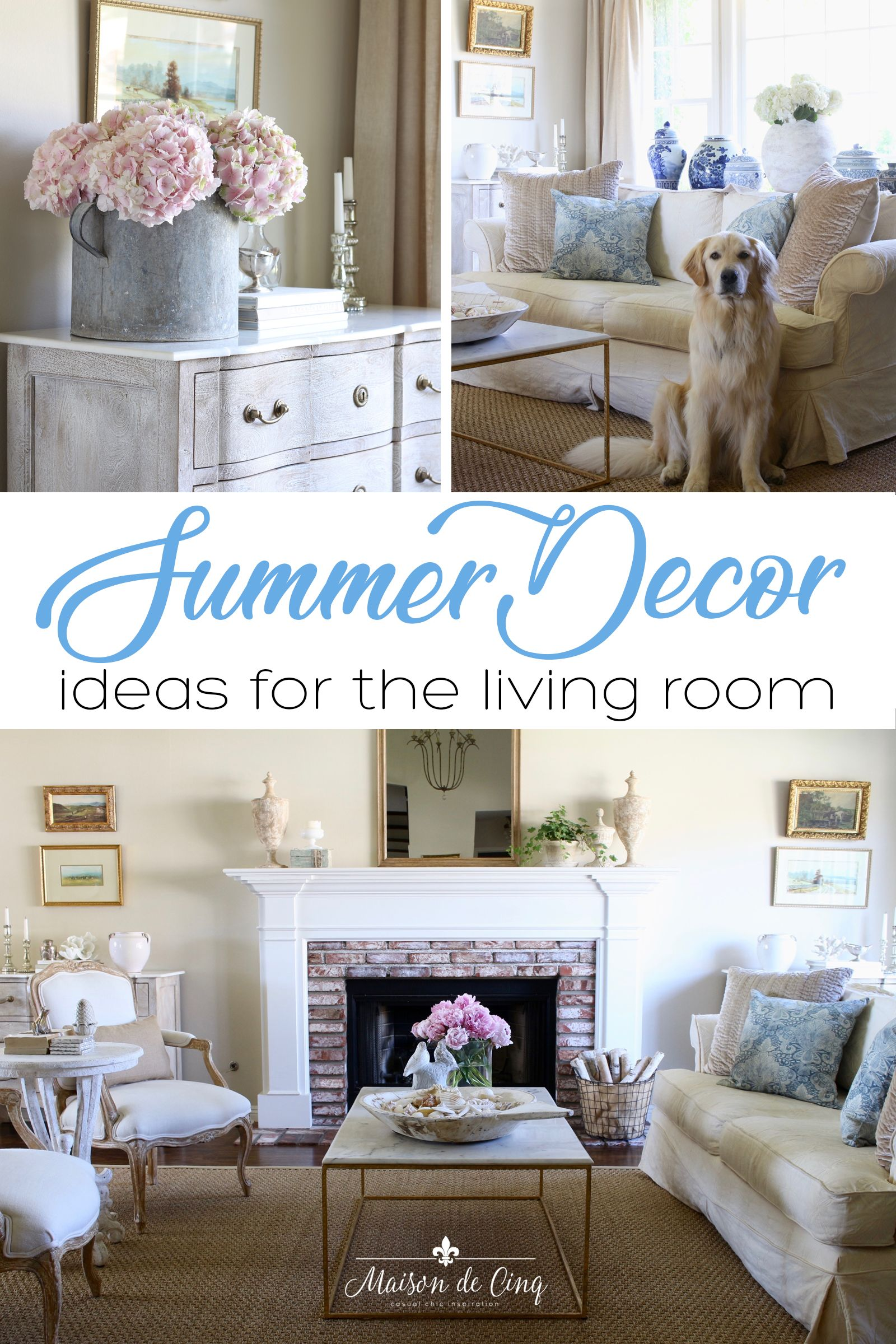 French Farmhouse Summer Decorating Ideas In The Living Room Simple Summer Decor Maisondecinq French Country Decorating Summer Decor French Country Rug Summer living room decor