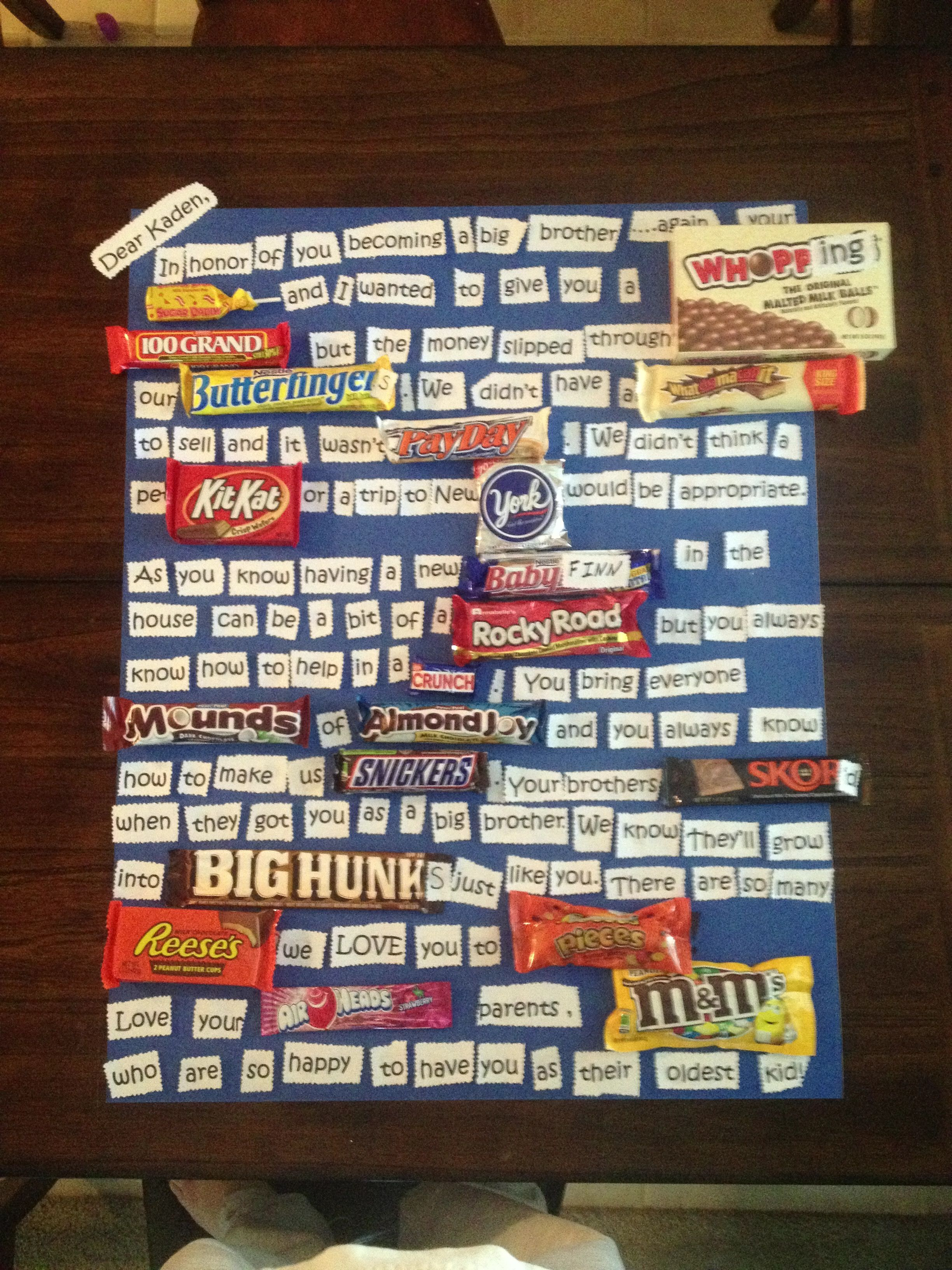 Big Brother Gift Candy Card Gifts Pinterest Gifts Gifts For