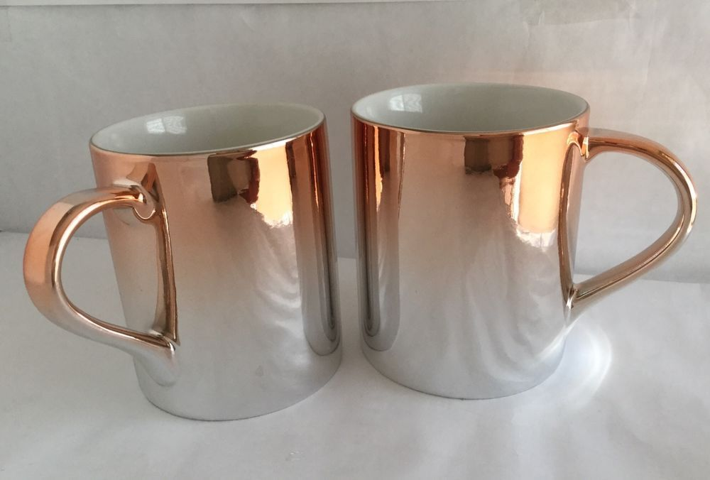 Set Of 2 Starbucks 2013 Ceramic Gradient Metallic Rose
