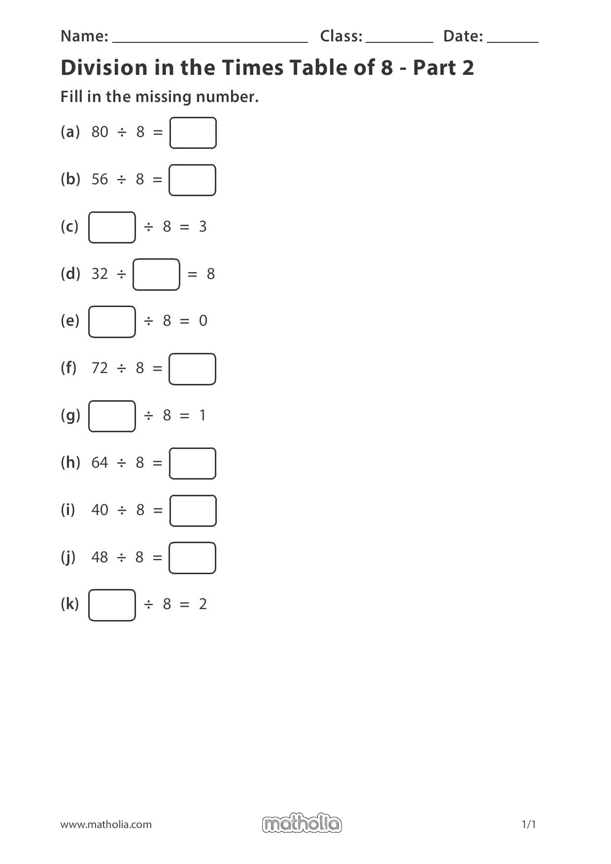 Division In The Times Table Of 8
