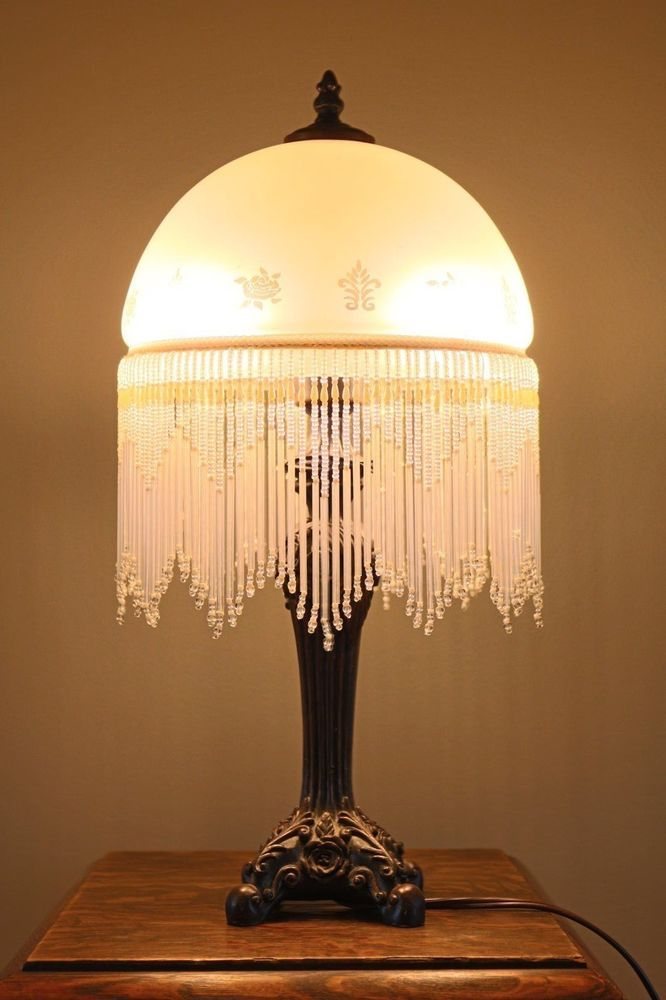 Unique Frosted Glass Lamp With Beaded Fringe Vintage Bohemian Shabby Chic Small Lamp Shades Glass Lamp Lamp