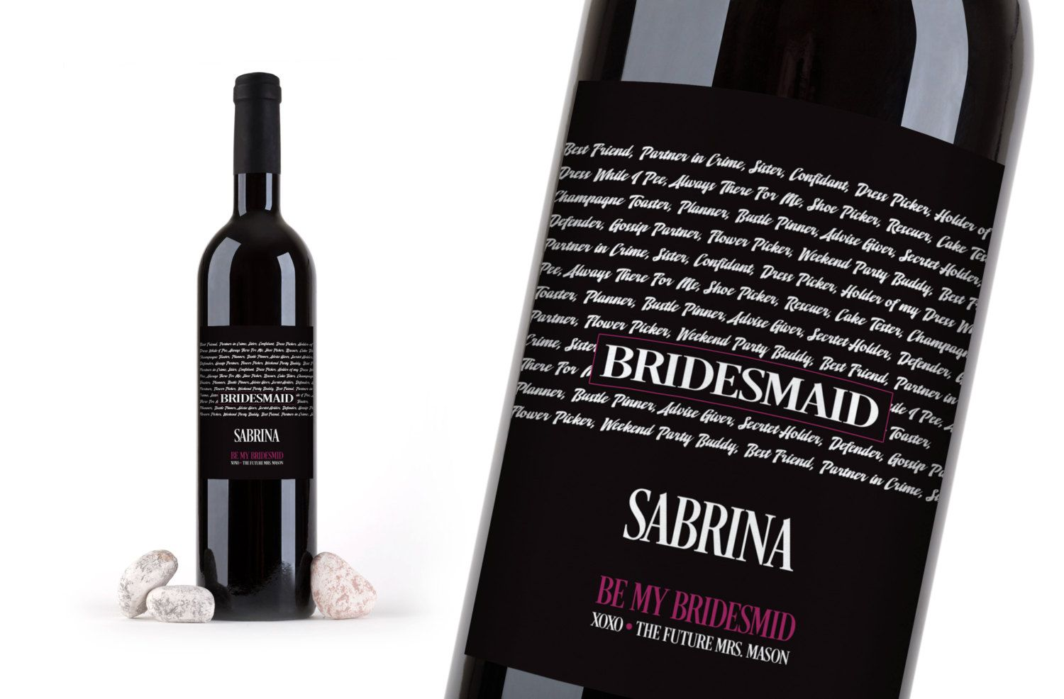 WEDDING WINE LABEL, Wine Bottle label to ask your bridesmaids, ask maid of honor, ask girls, Got my guy, need my girls, wedding wine labels by CreativeLabelDesigns on Etsy