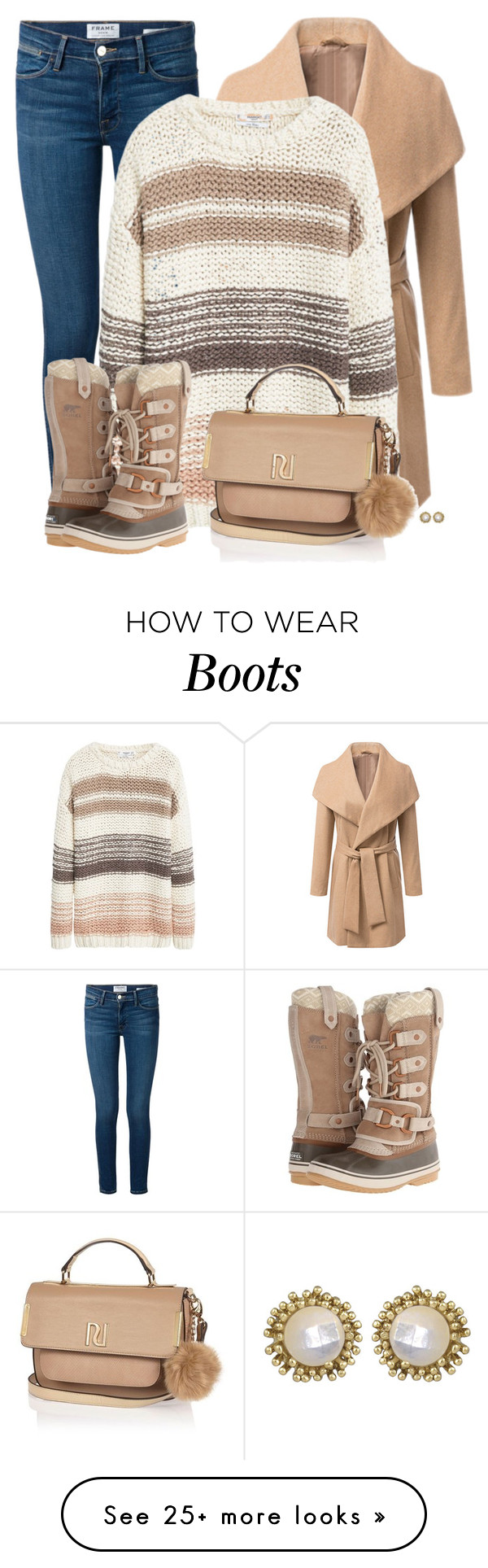 """Duck Boots for Winter"" by cnh92 on Polyvore featuring Frame Denim, MANGO, SOREL, River Island and Kendra Scott"