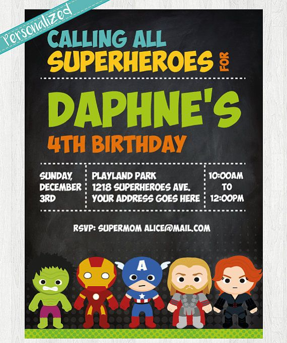 Superhero birthday invitation Avengers inspired by PrinterFairy
