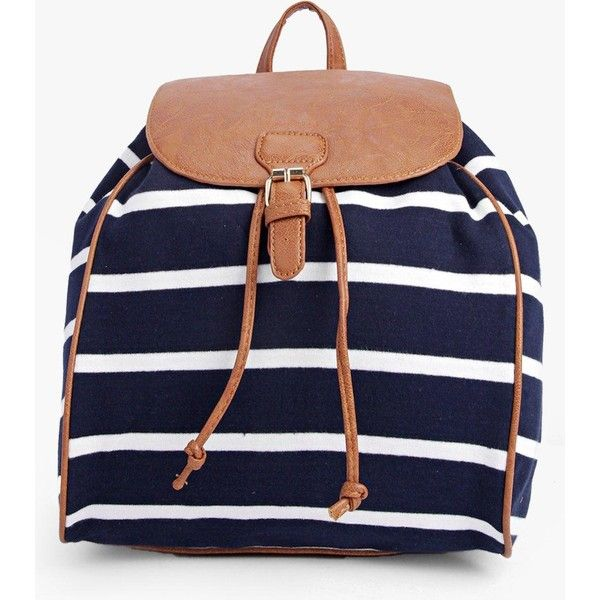 Boohoo Isabella Striped Rucksack (€27) ❤ liked on Polyvore featuring bags, backpacks, multi, striped backpack, crossbody bags, crossbody backpack, shopper handbags and blue backpack