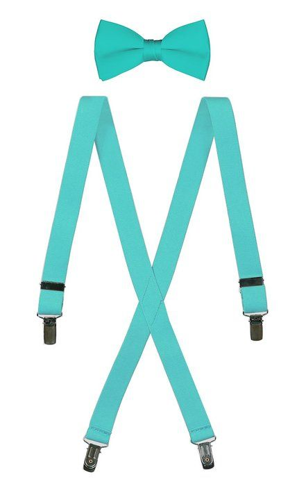 """Bow Tie and Suspender Set Combo in Men's & Kids Sizes (25"""" Toddler, Tiffany Blue)"""