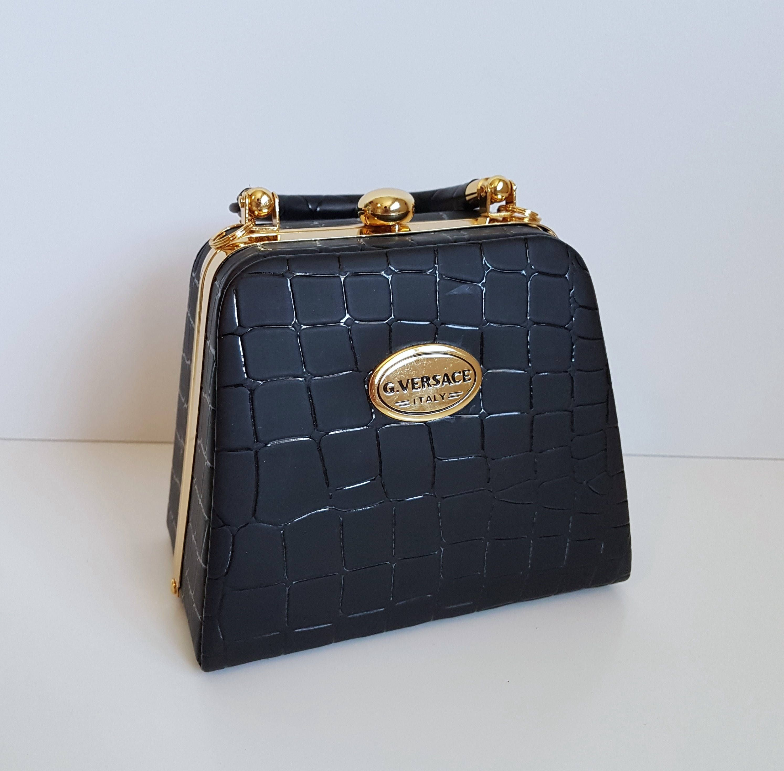77eb24ad21 Vintage G. VERSACE Black Handbag, Clutch, Crocodile Embossed Pattern with  Gold Trim and Handle, Italy by RetroEnvy21 on Etsy