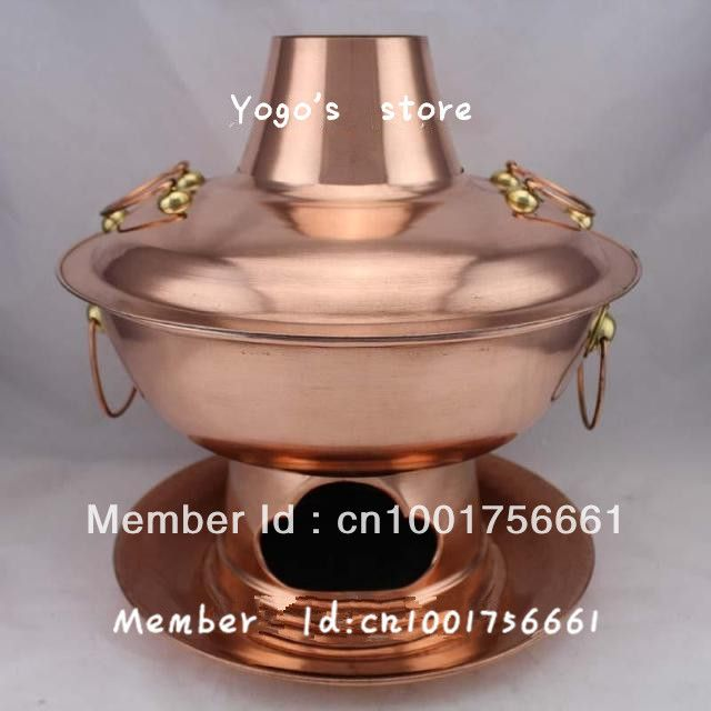 36cm China copper hot pot thickened Mongolian / Chinese charcoal copper handmade Copper cooking,fire tube Copper disc Set