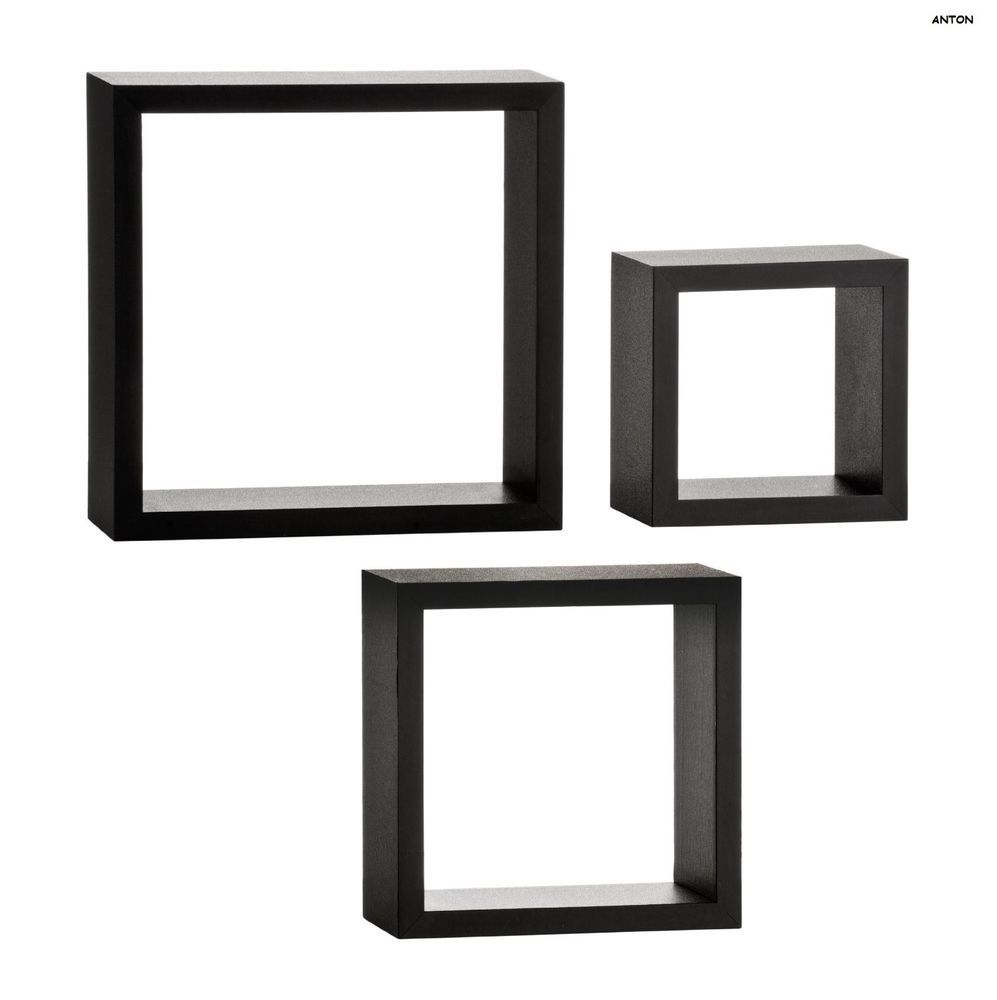 Set of 3 wall cubes decoration black stylish picture black wall cubes hanging display storage organiser 3 shelf cube floating shelves in home furniture diy home decor wall hangings amipublicfo Image collections