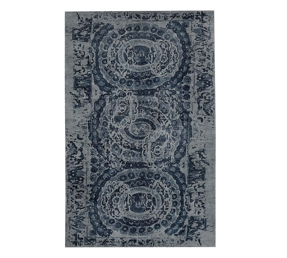 Bosworth Printed Wool Rug 10x14 Blue At Pottery Barn In