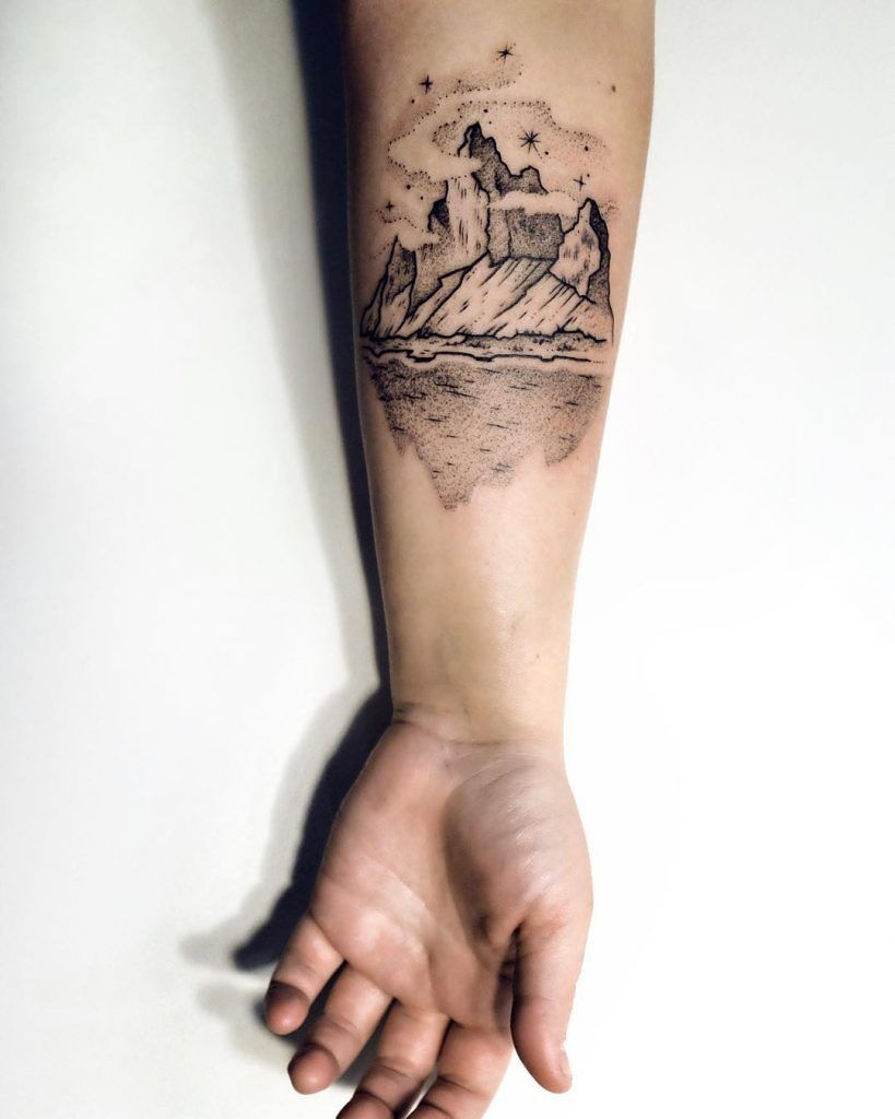 Black mountain tattoo by Sasha (With images) Tattoos