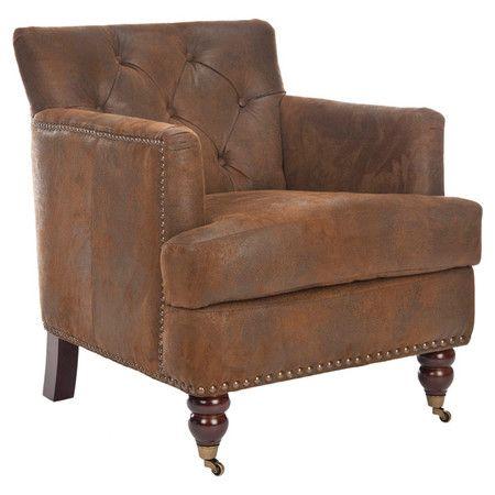 Diamond Tufted Club Chair With Brass Nailhead Trim And A