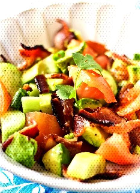 Bacon Avocado Salad with Bacon Dripping Dressing - Adventures in Cooking Bacon Avocado Salad with B