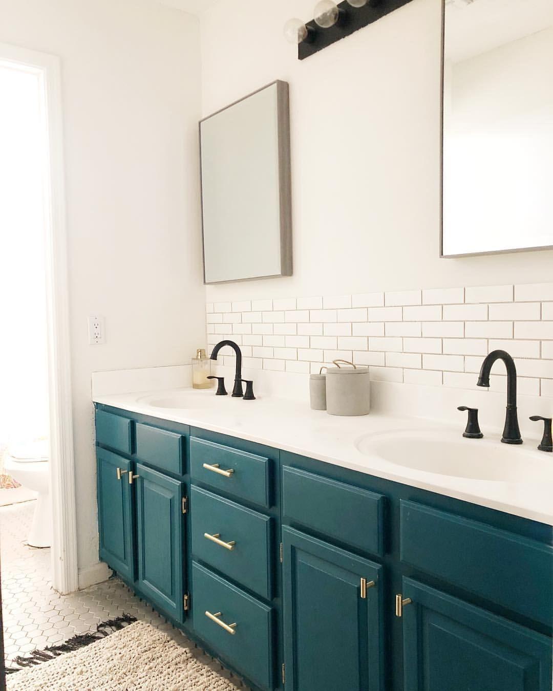 Modern Bathroom Makeover Inspiration Teal Cabinets Double Vanity Teal Bathroom Double Vanity Bathroom Painting Bathroom Cabinets