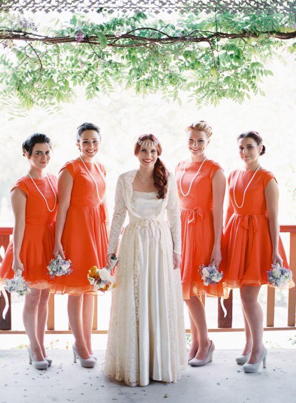Rustic Tangerine Australian Wedding Orange Bridesmaid Dresses