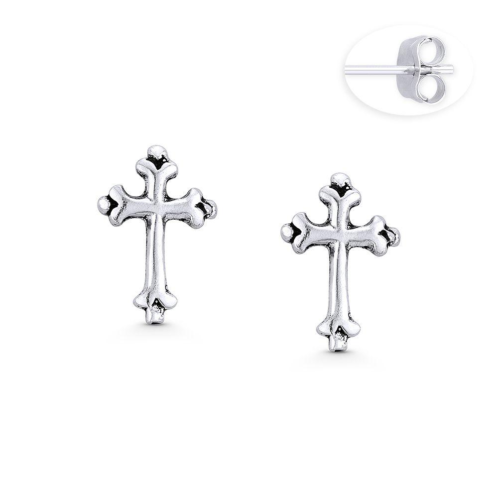 Religious Spiritual Gift Sterling Silver .925 Cross Stud Post Earrings