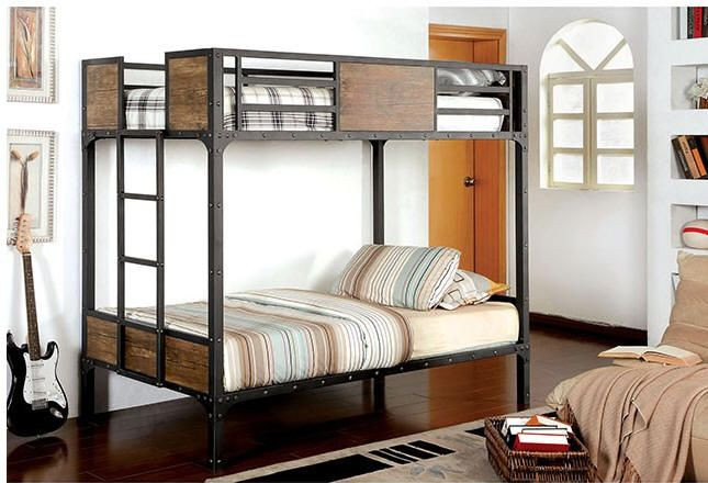 South Bank Wood And Metal Twin Over Twin Bunk Bed Cabins Bunk
